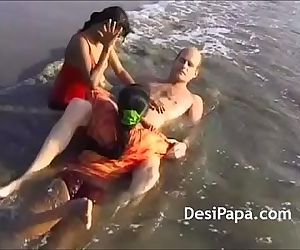 Indian Teens Gangbang Threesome Group Sex On Beach - 13 min